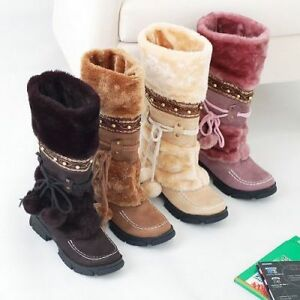 Womens-Faux-Fur-Furry-Pom-Pom-Mid-Calf-Boots-Shoes-Winter-Warm-Pull-On-Round-Toe