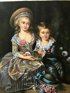 Beautiful-Portrait-Oil-Painting-on-Canvas-20-034-x-24-034-Two-Sister-and-Brother