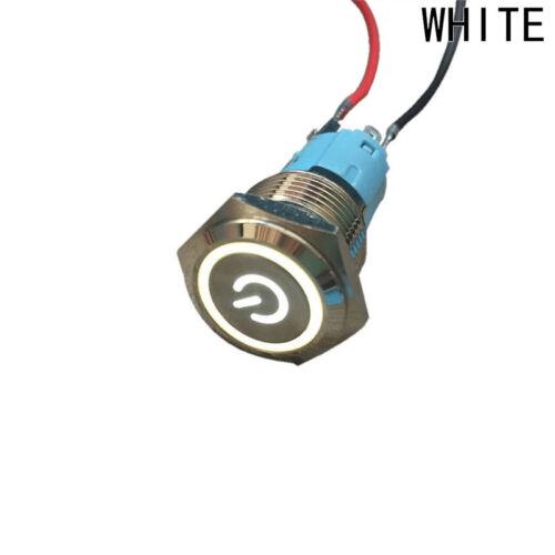 Neu 16mm 12V Wasserdicht Auto Led Strom Drucktaste Metall an//aus Schalter Riegel