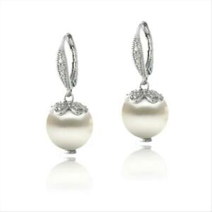 925 Silver Diamond Accent Freshwater Cultured Pearl Petals Drop Earrings