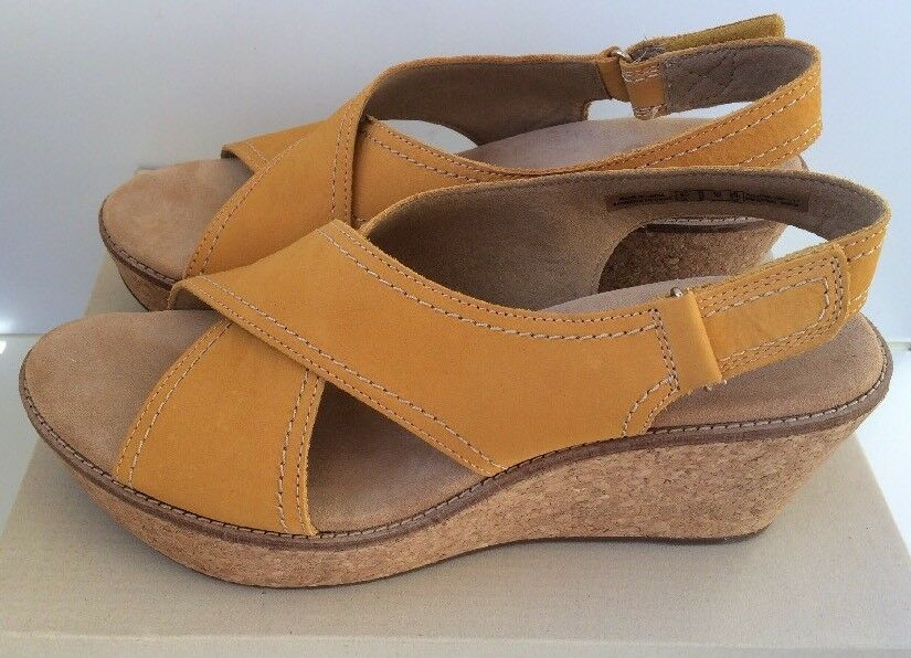 Clarks Yellow Nubuck Aisley Tulip Slingback Cork Wedge Sandals 12 NEW