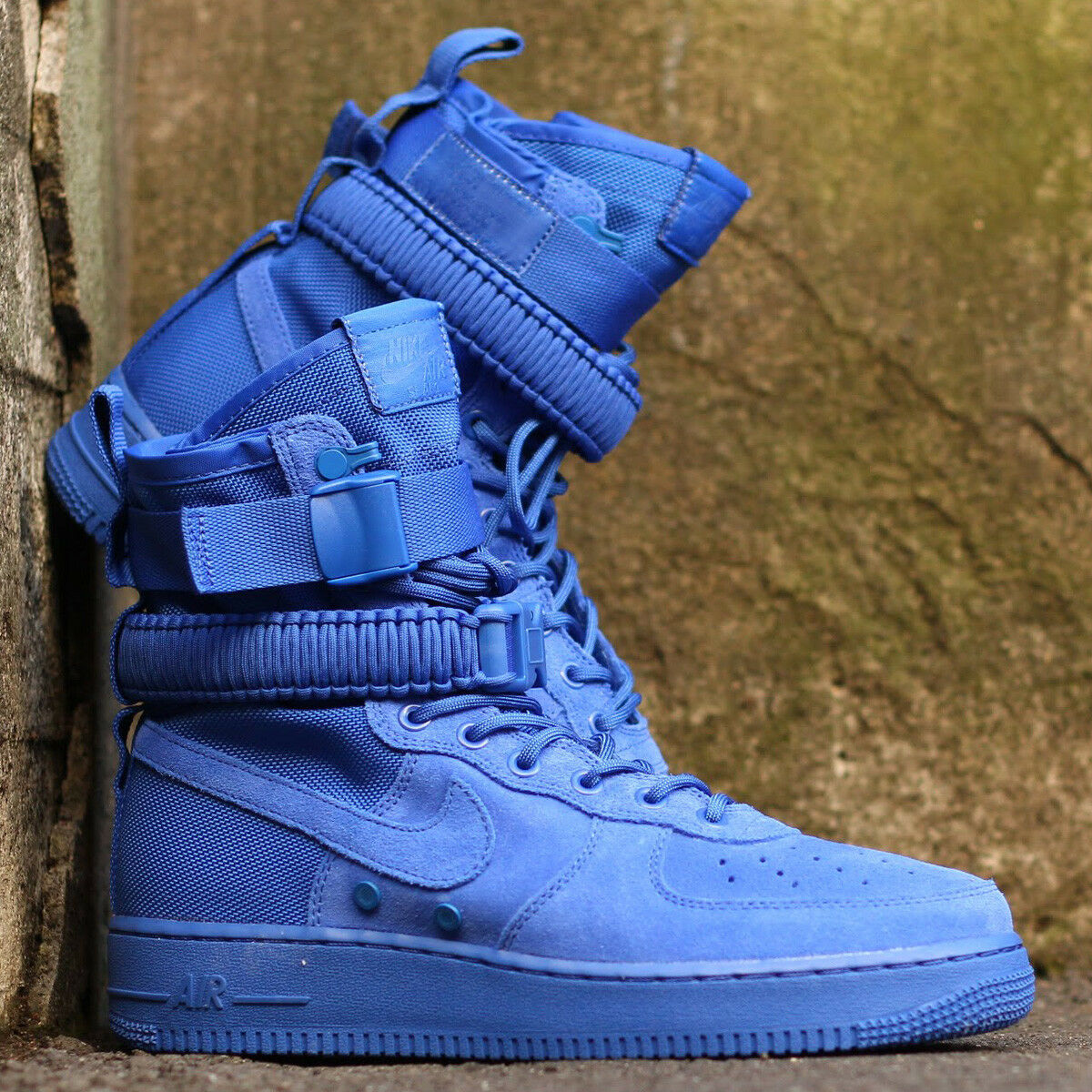 Nike Sf Air Force 1 Alte Gioco Reale blue Scamosciato men shoes 864024 UK 10.5