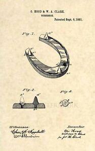 Official-Horseshoe-US-Patent-Art-Print-Vintage-1881-Antique-Original-Cowboy-221