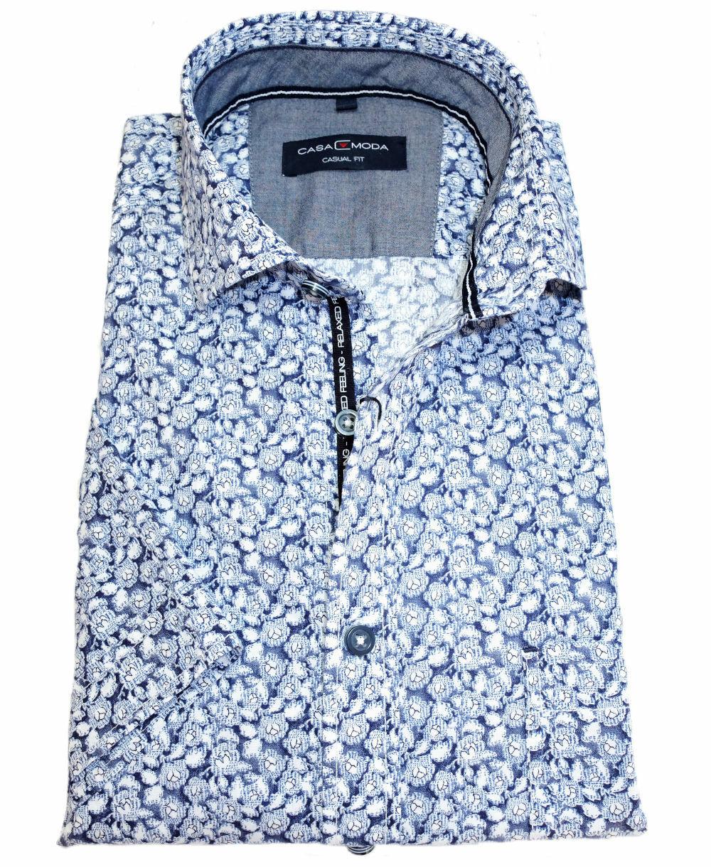 M bis 7XL Casamoda Kurzarmhemd Casual Fit weiss Naturmotiv Print in blau Gr