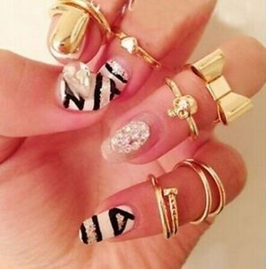 New-7PCS-Set-Gold-Skull-Stack-Plain-Cute-Above-Knuckle-Ring-Band-Midi-Rings