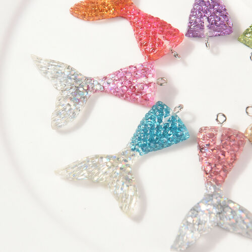 10X Mixed Glitter Mermaid Fish Tail Charm Resin Pendant Fit Bracelet//Necklac ER