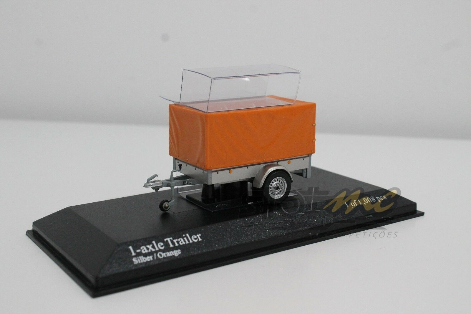MINICHAMPS 400905221 1-axie trailer w  canvas Silver orange 1 43  NEW