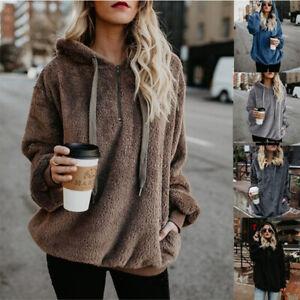 Women-Casual-Oversized-Long-Sleeve-Hooded-Sweatshirt-Fuzzy-Hoodie-Pullover-Top