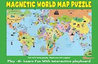 Ata-boy Magnetic World Map Play-n-learn Puzzle Board, New, Free Shipping