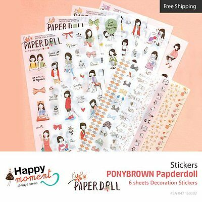 PONYBROWN Paperdoll Stickers For Diary Day Planner & Organizer 6 sheets