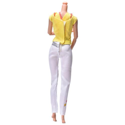 2X//Set Yellow Vest Suit for  Dolls White Pants Fashion Cloth Two-Piece.UK