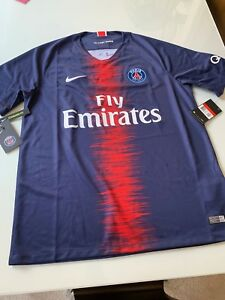 new style d4f63 a92d7 Details about Brand NEW Nike Dri-Fit Soccer PSG Jersey Shirt Team SIZE  LARGE Blue - Never Worn