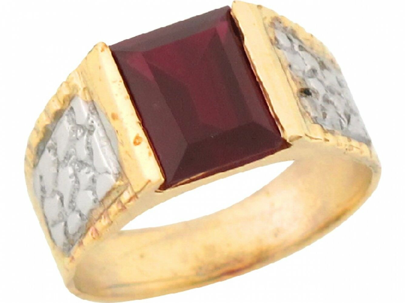 10k or 14k Real Two Toned gold 1.82ct Garnet CZ Attractive Baby Ring