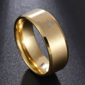 4f98b804df162 Details about Gold Dallas Cowboys Stainless Steel Digital Engraved Men  Football Ring Band