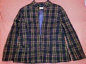 Giacca-VINTAGE-lana-donna-usato-manica-lunga-quadri-scozzese-sul-lillaviola-TG50
