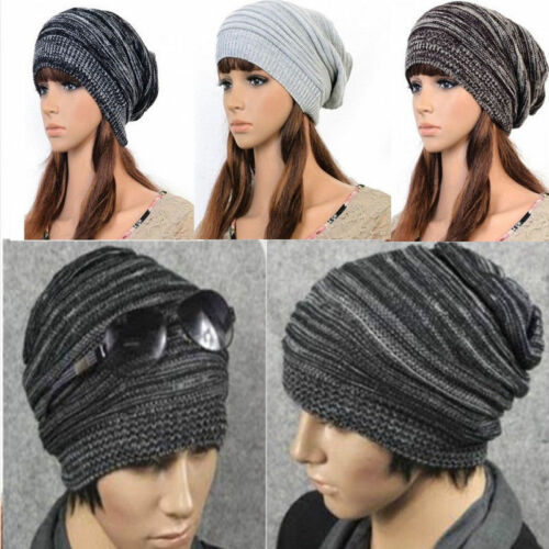 Women Mens Warm Winter Baggy Beanie Knit Crochet Ski Hat Oversized Slouch Cap