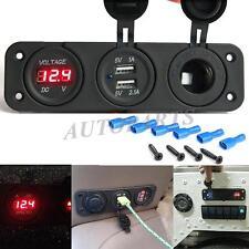 3in1 Waterproof Car Triple USB Charger Port + Voltmeter + Cigarette Lighter 12V