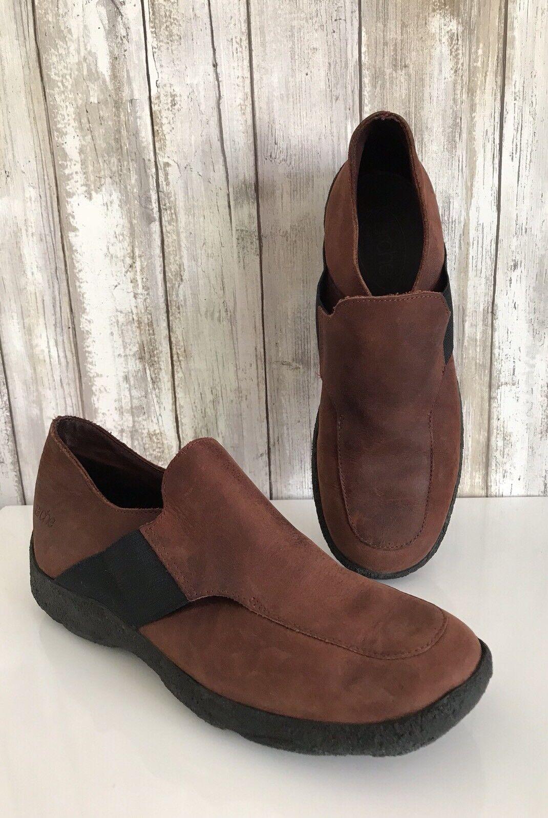 ARCHE  Slip on Marronee Nubuck Leather Elastic Flat Loafer scarpe 38 7.5 8 FRANCIA  Nuova lista