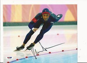 SHANI DAVIS U.S. OLYMPIC SPEED SKATER HAND SIGNED COLOR 8X10 W/ PSA COA X75185