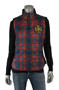 Lauren Plaid Quilted Crest Vest Red New Diamond Ralph Equestrian Polo CR7awxvq