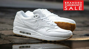 pas mal 628ac d6248 Details about BNIB New Men Nike Air Max 1 Ostrich Leather Triple White  Leather LTR 7 8 9 10uk