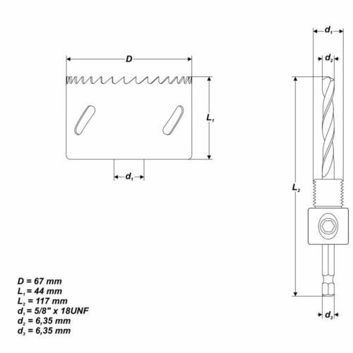 """2-5//8/"""" Bohrkrone mit Zentrierbohrer für Holz Inox Bi-Metall Lochsäge Ø 67 mm"""