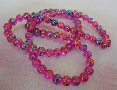 140 pce Hot Pink Round Drawbench Glass Beads 6mm Jewellery Making Craft