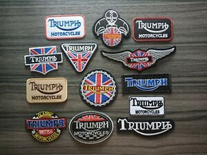 """Triumph Motorcycles Racing Sport 4/"""" x 2/"""" Logo Sew Iron Embroidery Applique Patch"""