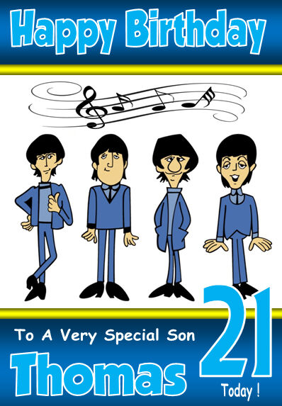 The Beatles Fun Personalised Birthday Card A5 Size Any Name Age