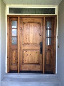 3068 knotty alder entry door with 3 lite side lites ebay