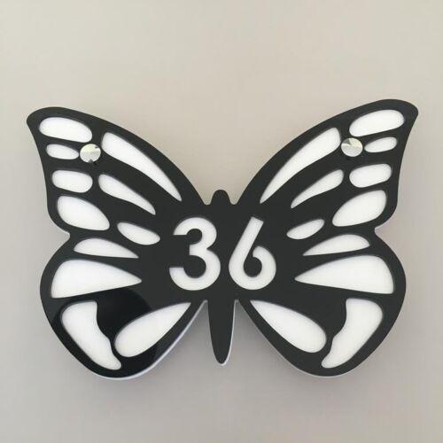 Papillon Maison Numéro Signes Grand 32 Cm Avec Chromé Fixations