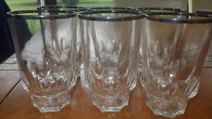 Vintage Tumblers Glasses rimmed Platinum thumbprint base design 6 12 oz glasses