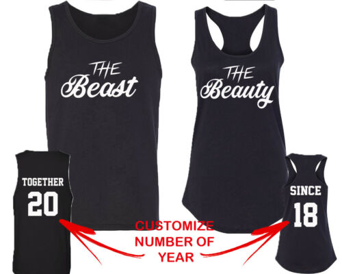 Couple Matching TANK TOP NEW The Beast Beauty TOGETHER SINCE Back DATE NUMBERS