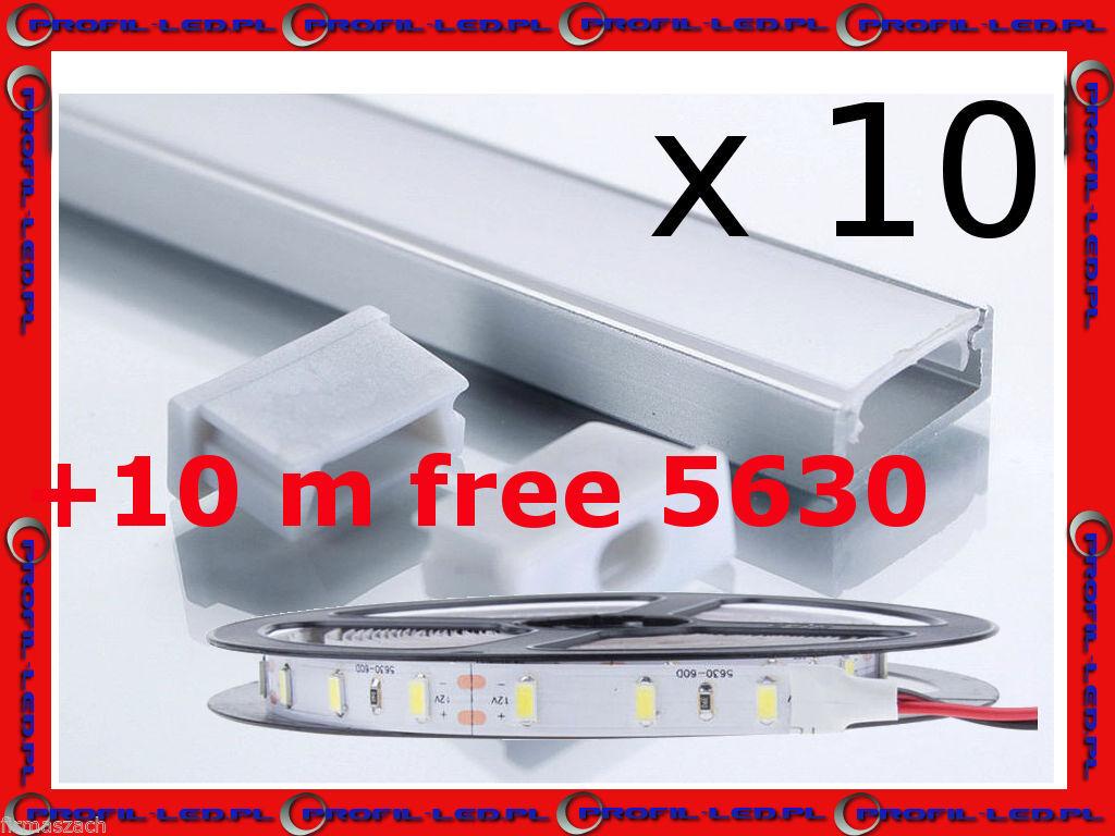 Aluminium  Profile for LED  SL-01 10 m + Free Led Strips 5630 Warm Weiß 10  m