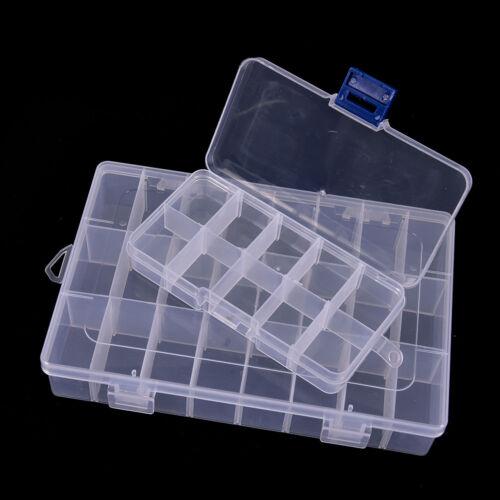 Plastic 15//10//24 Slots Adjustable Jewelry Storage Box Craft Organizer Bead IJ