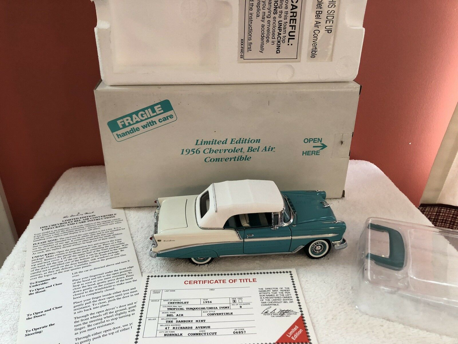 Danbury Mint Limited Edition 1956 Chevrolet BelAir Convertible.