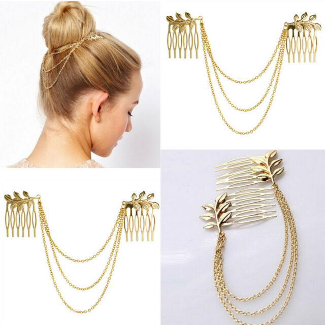 Gold Tassel Chain Leaf Comb Cuff Charm Jewelry Headband Hair Accessory JT52