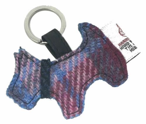 Harris Tweed Scotty Dog llavero en color de rosa