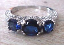 Grande bague bijou vintage argent 925 3 beaux saphirs cristaux diamant T 57