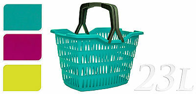 Plastic 23Lt Shopping Storage Basket Shopper with Folding Handles