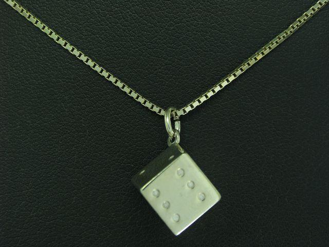 925 STERLING silver KETTE & ANHÄNGER IN WÜRFELFORM   ECHTsilver   8,2g   76,9cm
