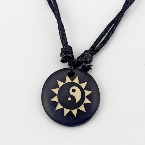Collar de hueso de yak tibetano Yin Yang Sun Moon Lobo Cartel Colgante Cable De Cera Negra