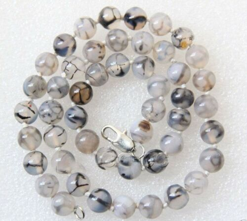 "8mm Fashion White /& Black Dragon Veins Agate gemstone Beads Necklace 18/"""