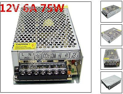 NEW 12V 6A 75W LED Driver Strip Lighting Transformers Power Supply AC 110V/220V
