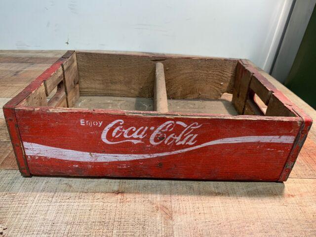 Vintage 1960/'s Wooden Yellow Coca-Cola Coke Soda Pop Bottle Crate Carrier Box