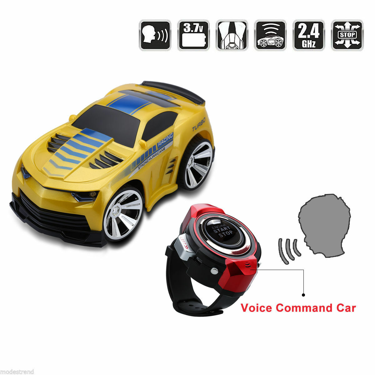 Yellow Voice Command Vehicle Car With Smart Watch Kid 2.4G