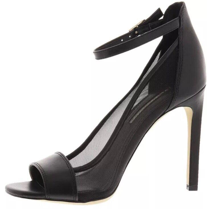 BCBGeneration Natalee Black Black Black Leather Mesh Peep Sandal Ankle Pump Stiletto 9 M New 7ea97c