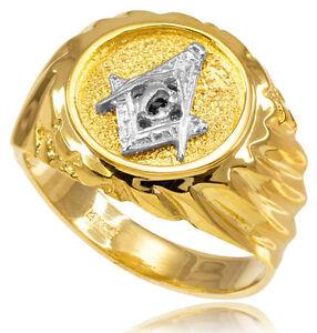 14k-Solid-Yellow-Gold-Masonic-Men-039-s-Ring