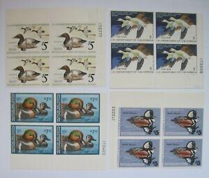 U-S-Duck-Plate-Blocks-MNH-RW42-RW44-46