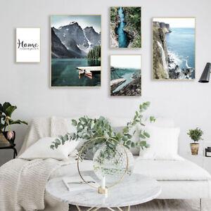 Mountain-Lake-Waterfall-Nature-Landscape-Canvas-Poster-Nordic-Wall-Art-Print